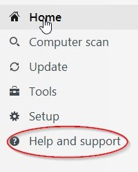 ESET Menu, Help and Support