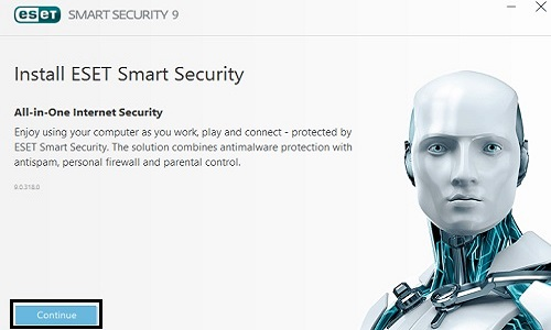 Install ESET Smart Security, Continue
