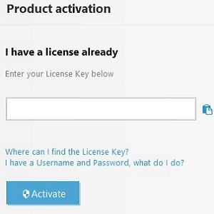 Product activation, enter license key
