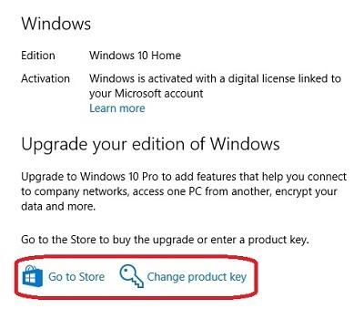 change edition windows 10