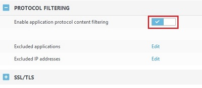 ESET Version 9Protocol content filtering toggle
