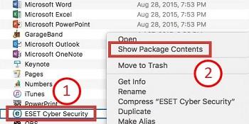 Mac OS X El Capitan, ESET, Show Package Contents
