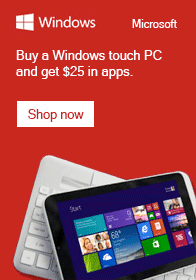Buy a Windows touch PC and get $25 in apps!