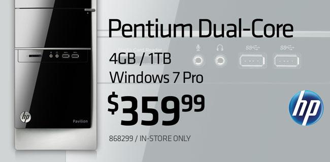 HP Pentium Dual-Core Windows 7 Pro Desktop $359.99