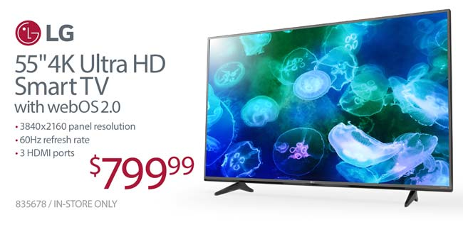 LG 55 inch 4K Ultra HD Smart TV - $799.99