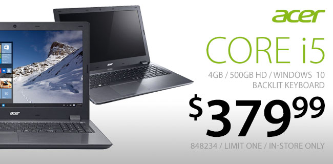 Acer Core i5 Laptop $379.99