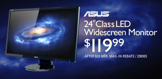 ASUS 24-inch Class LED Widescreen Monitor - $119.99 after rebate