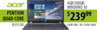 Acer Pentium Quad-Core Laptop $127.99