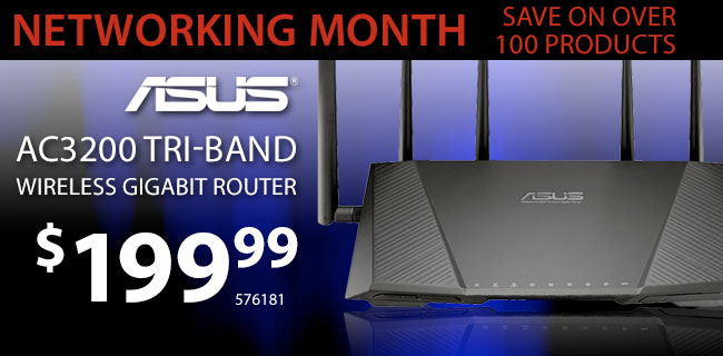 ASUS AC3200 Tri-Band Wireless Gigabit Router - $199.99