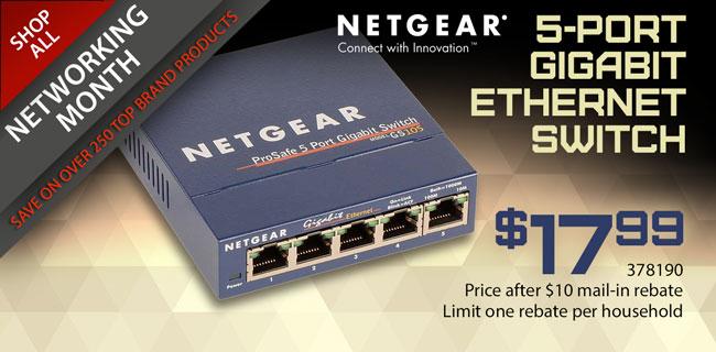 Netgear 5-Port Gigabit Ethernet Switch - $17.99