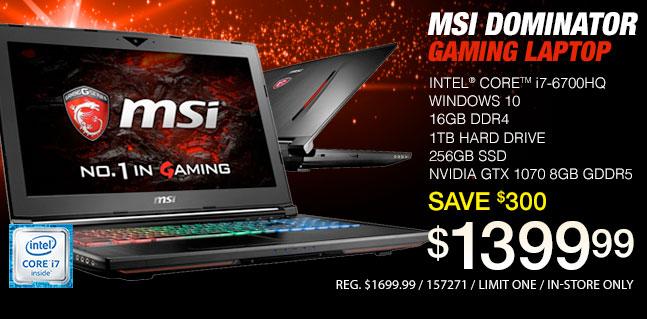MSI Dominator Gaming Laptop - $1399.99