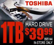 Toshiba 1TB Internal Hard Drive $39.99