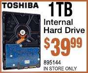 Toshiba 1TB Inter hard drive $39.99
