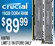 Crucial 16GB DDR4 Ram - $89.99