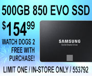 Samsung 500GB 850 EVO SSD - $154.99 - Free Watch Dogs 2 with purchase