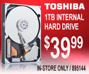 Toshiba 1TB Internal HD - $39.99