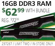 Crucial 16GB DDR3 RAM - $124.99 with Bundle