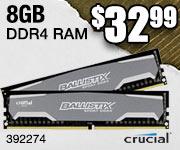 Crucial 8GB DDR4 RAM $32.99