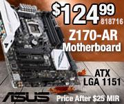 ASUS Z170-AR Motherboard $124.99 After $25 MIR