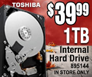 Toshiba Internal Hard Drive $39.99