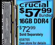 Crucial 16GB DDR4 RAM $57.99 Bundled