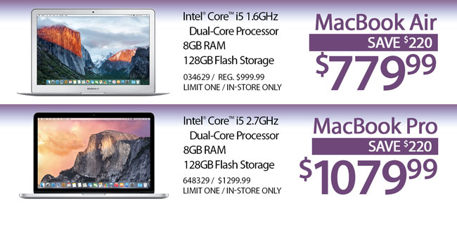 MacBook Air - $779.99 / MacBook Pro - $1079.99
