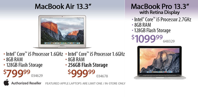 MacBook Air - $799.99 or $999.99 / MacBook Pro - $1099.99