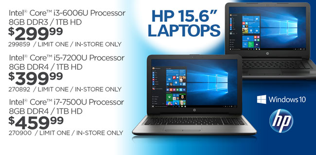HP 15.6-inch laptops - $299.99, $399.99 and $459.99