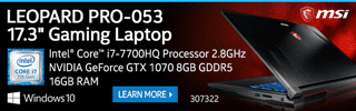 MSI Leopard PRO-053 17.3-inch Gaming Laptop - LEARN MORE