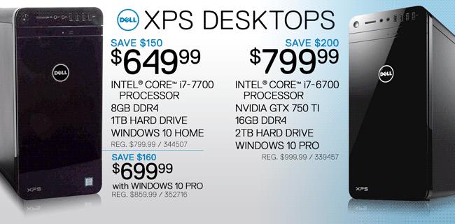 Dell XPS Desktops - $649.99, $699.99, $799.99