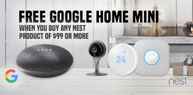 Free Google Home Mini When You Buy Any Next Product of $99 or More.