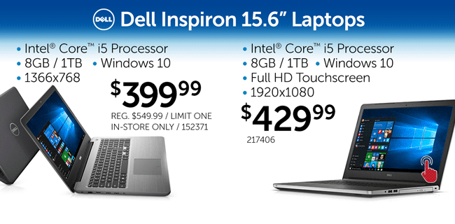 Two Dell 15.6-inch Core i5 Laptops - $399.99 and $429.99