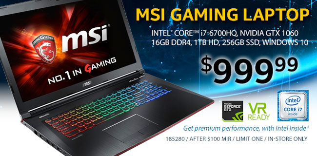 MSI GP62 15.6 inch Gaming Laptop - $999.99