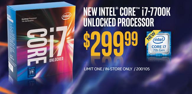 New Intel Core i7-7700K Unlocked Processor - $299.99