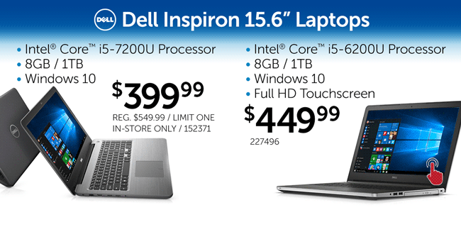 Two Dell 15.6-inch Core i5 Laptops - $399.99 and $449.99