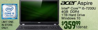 Acer Aspire Laptop $349.99