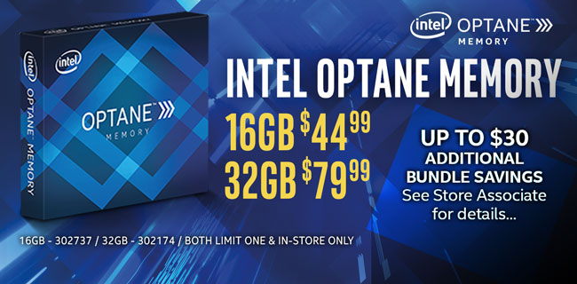 Intel Optane Memory - 16GB $44.99, 32GB $79.99