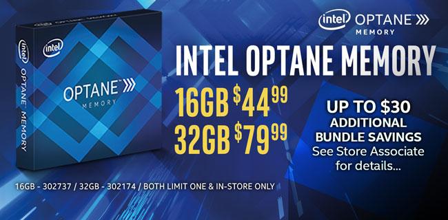 Intel Optane Memory - 16GB $44.99, 32GB $79.99