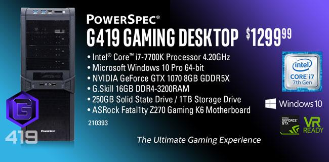 PowerSpec G419 Gaming Desktop - $1299.99