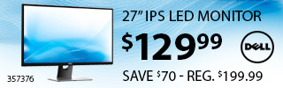 Dell 27 Inch IPS LED Monitor - $129.99