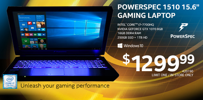 NEW! PowerSpec 1510 15.6 inch Gaming Laptop - $1299.99