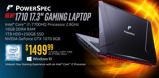 NEW! PowerSpec 1710 17.3-inch Gaming Laptop - $1499.99