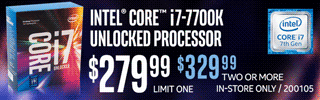 Intel Core i7-7700K Unlocked Processor - $279.99 one, $329.99 two or more
