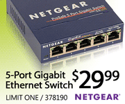 Netgear 5-Port Gigabit Ethernet Switch $29.99