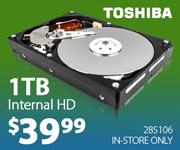 Toshiba 1TB Internal Hard Drive - $39.99