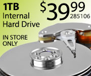 Toshiba 1TB Internal Hard Drive $39.99