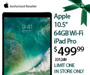 Apple 10.5 inch 64GB iPad $499.99