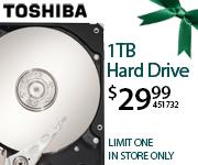 Toshiba 1TB Hard Drive - $29.99