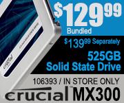 Crucial MX300 525GB SSD $129.99 Bundled