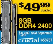 Crucial 8GB DDR4-2400 $49.99 Bundled